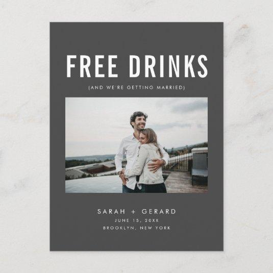 Funny Free Drinks Wedding Gray Save the Dates Announcement