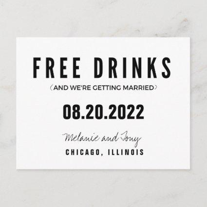 Funny Free Drinks Wedding Save the Dates Announcement
