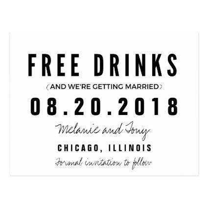 Funny Free Drinks Wedding s Cards