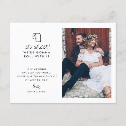 Funny Roll With It Photo Wedding Postponement Announcement