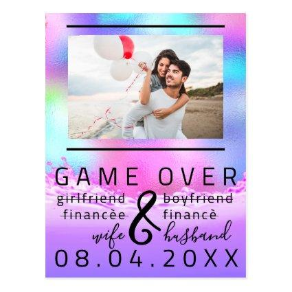 Game Over Funny Save The Date Couple Photo