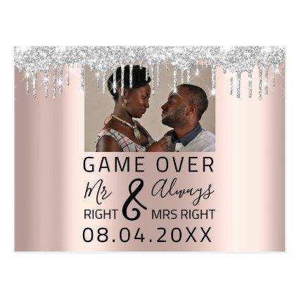 Game Over Funny Save The Date Silver Drips Photo