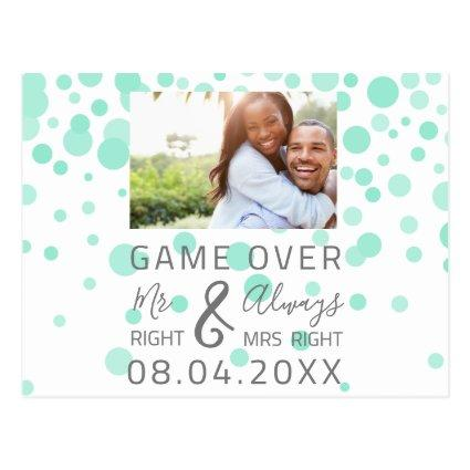 Game Over Funny Save The Date Wedding Aqua Photo