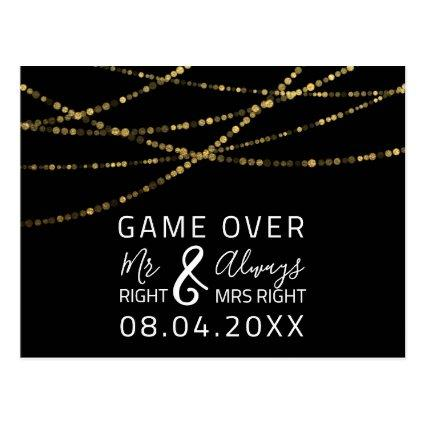 Game Over Funny Save The Date Wedding Gold