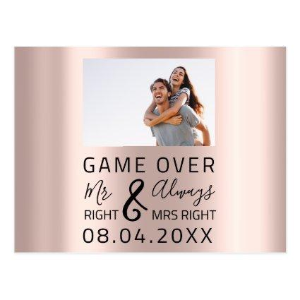 Game Over Funny Save The Date Wedding Photo