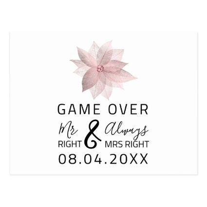 Game Over Funny Save The Date Wedding Rose