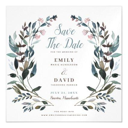Garden Crest | White Blue Wedding Save The Date Magnetic Invitation