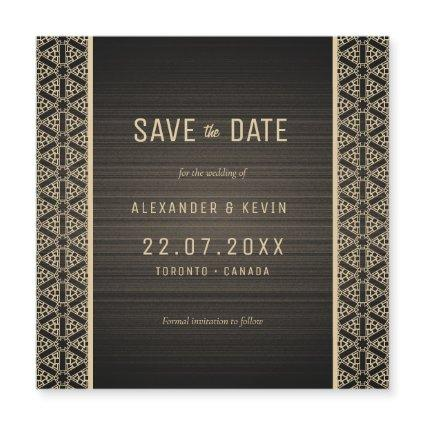 Gay elegant save the date magnetic card