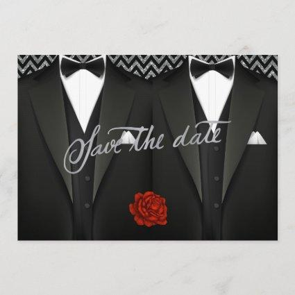 Gay Save the Date with Tuxedo