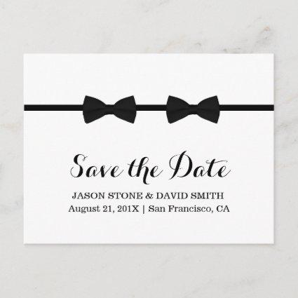 Gay Wedding Bow Ties Minimalist Save the Date Announcement