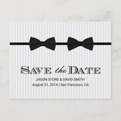 Gay Wedding Double Bow Ties Save the Date Announcement