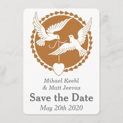Gay Wedding Elegant Love Doves Save the Date Cards