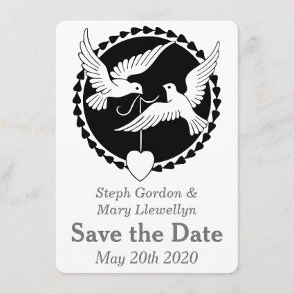 Gay Wedding Love Doves Elegant Save the Date Cards