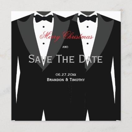 Gay Wedding Save The Date Christmas  Red
