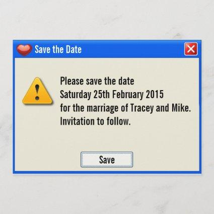 Geek Error Message Save the Date Invitation
