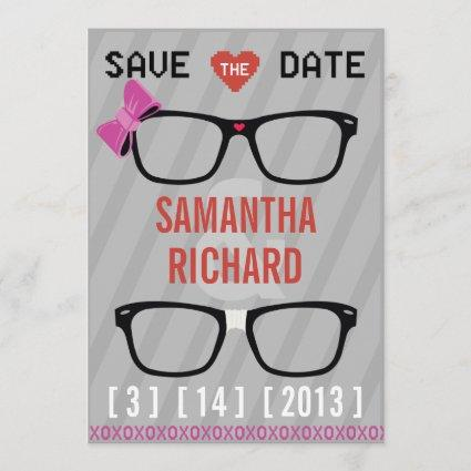 Geek Glasses  & Hearts Wedding Save the Date