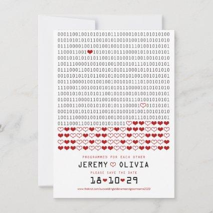Geek Programmed For Love Binary Code Save The Date