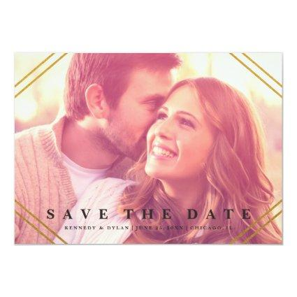 Geo Save the date announcement faux foil
