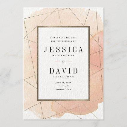 Geo watercolor faux foil save the datecard save the date