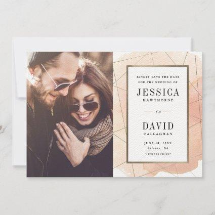 Geo watercolor photo save the date announcement