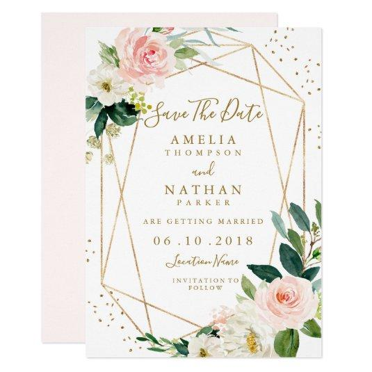Geometric Blush Gold Floral Save The Date Invite