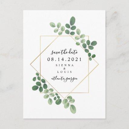 Geometric Botanical Wedding Save The Date Announcement