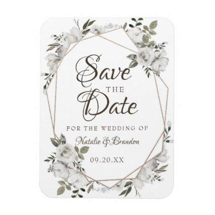 Geometric Cherish White Floral Save the Date Magnet