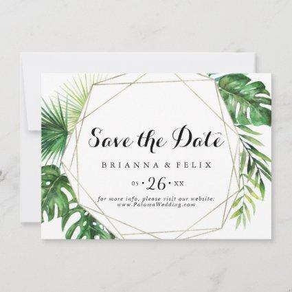 Geometric Destination Tropical Horizontal Wedding Save The Date