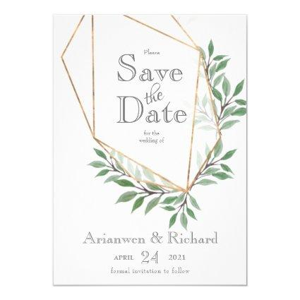 geometric Foliage Faux Gold Save the date Invite