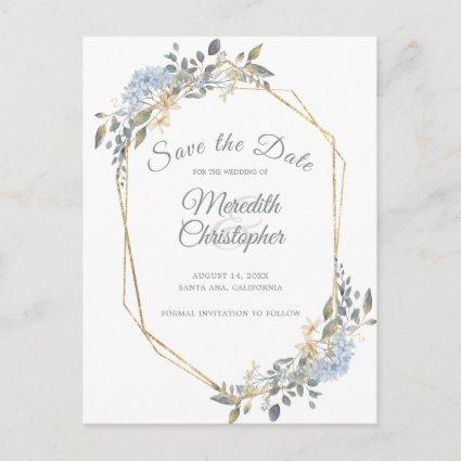 Geometric Gold Frame Dusty Blue Florals Save Date Announcement