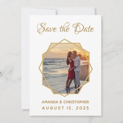 Geometric Gold Frame Photo Calligraphic Wedding Save The Date