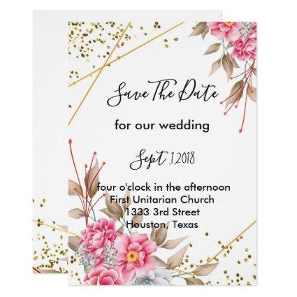 Geometric Gold Frame Pink Floral  save the date Invitation