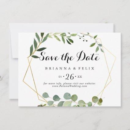 Geometric Gold Tropical Green Horizontal Wedding Save The Date