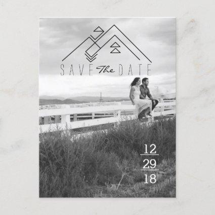 Geometric Mountain | Modern Save The Date Announcement