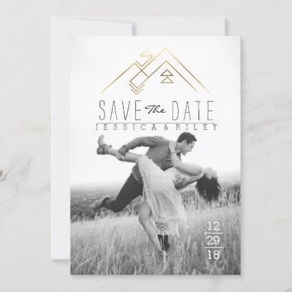 Geometric Mountian | Gold Save The Date Photo