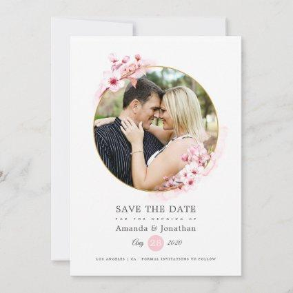 Geometric Pink Spring Cherry Blossom Wedding Save The Date