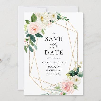 Geometric Watercolor Spring Blooms Save The Date