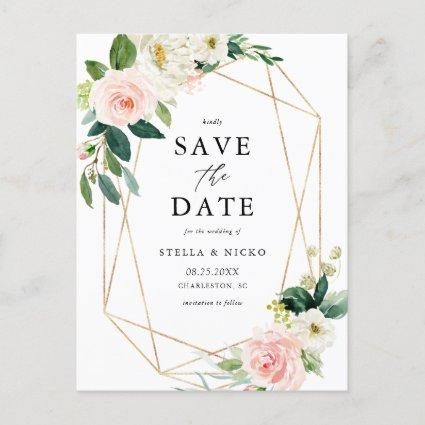 Geometric Watercolor Spring Blooms Save The Date Announcement