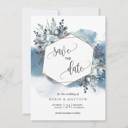 Geometrical Blue Watercolor and Blue Foliage Save The Date