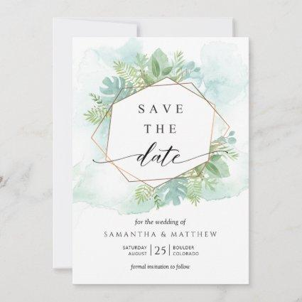 Geometrical Turquoise, Blue and Green Greenery Save The Date