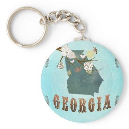 Georgia Map With Lovely Birds Keychain