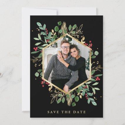 Gilded Greenery on Black | Geometric Photo Holiday Save The Date