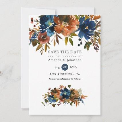 Ginger and Navy Floral Wedding Save The Date