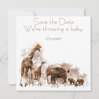 GIRAFFE AND BABY - Invitation