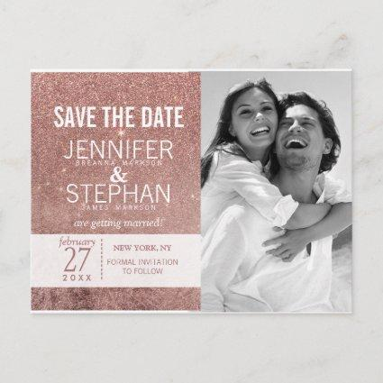 Girly Modern Rose Gold Glitter Foil Save the Date Announcements