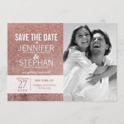 Girly Modern Rose Gold Glitter Foil Save the Dates Save The Date