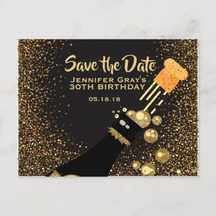 Glam Black Gold Save the Date Champagne Birthday Announcements Cards