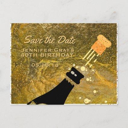 Glam Black Gold Save the Date Champagne Birthday Announcement