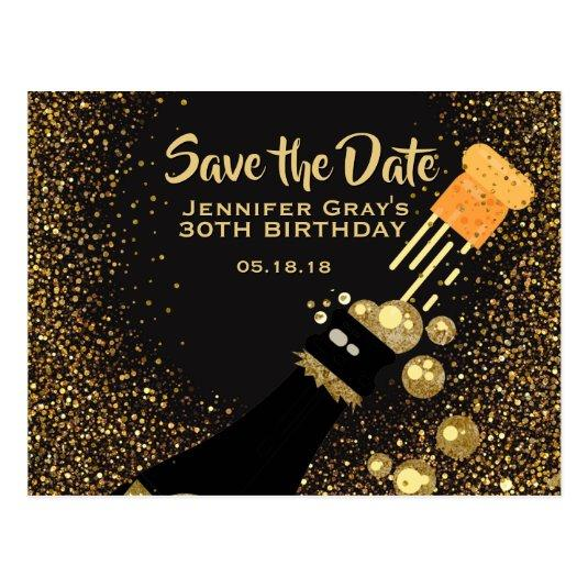 Glam Black Gold Save the Date Champagne Birthday