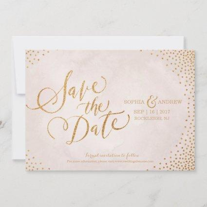 Glam blush rose gold calligraphy save the date